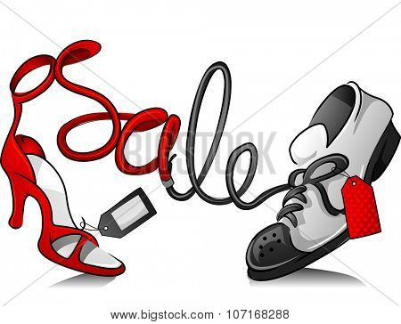 Illustration Featuring Sneakers and a Stiletto for a Shoe Sale
