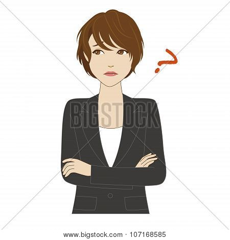 Thinking Young Woman In Business Suit