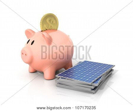 Concept of saving money if using solar energy. Solar panels near moneybox in the form of pig. poster