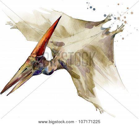 Dinosaur watercolor illustration. dinosaur jurassic period.