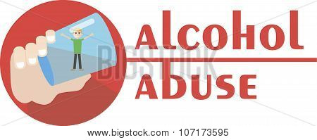 an alcoholic is drowning in a glass of vodka - hand drawn illustration of alcohol abuse - Vector flat design poster