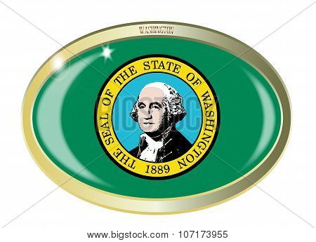 Oval metal button with the Washington flag isolated on a white background poster