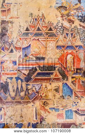 Over 100 Year Old Mural Paintings In Thailand.