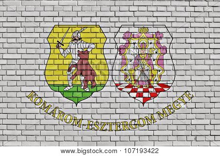 Flag Of Komarom-esztergom County Painted On Brick Wall