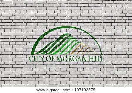 Flag Of Morgan Hill Painted On Brick Wall