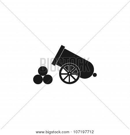 Retro Cannon. Flat Design Style.