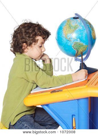 Adorable Boy Writing
