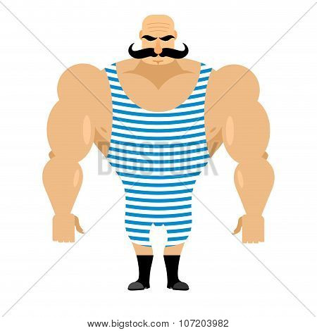 Retro Strongman Sportsman. Ancient Bodybuilder With Mustache. Athlete In Striped Jumpsuit. Strong Ci