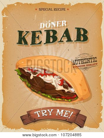 Grunge And Vintage Kebab Sandwich Poster