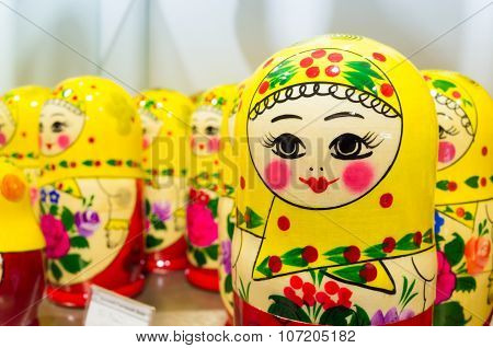 Colorful Matryoshka dolls also known as a Russian nesting dolls. Popular souvenir poster