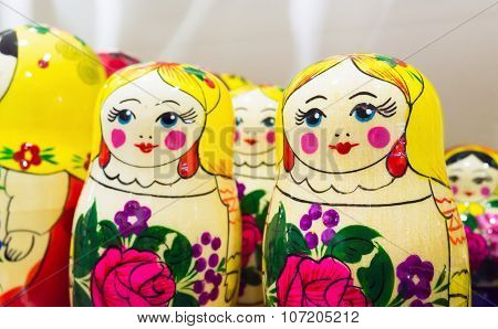 Bright Colorful Matryoshka Dolls, Popular Souvenir