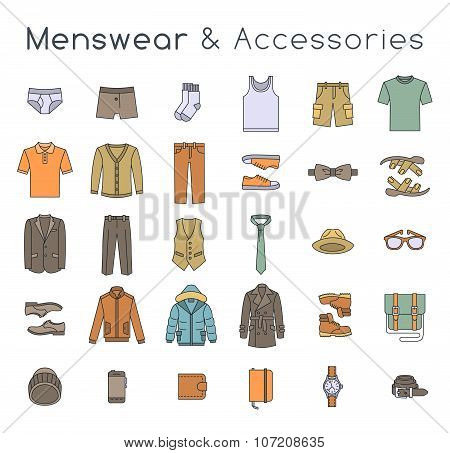 Men Fashion Clothes And Accessories Flat Line Vector Icons