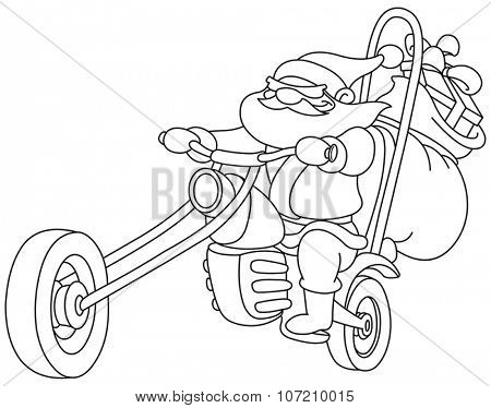 Outlined Santa on a motorcycle. Vector  illustration coloring page.