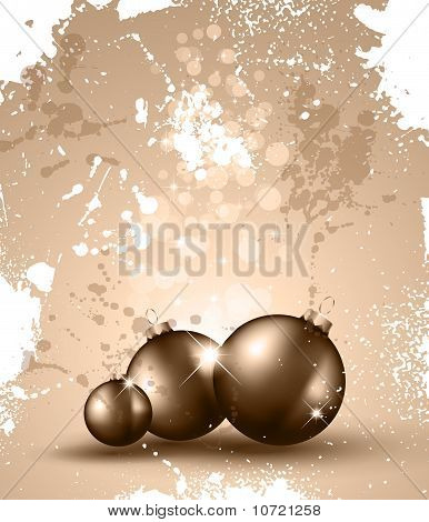 Christmas Backgrounds With Vintage Baubles And Glitter Elements