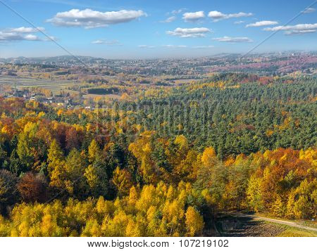 Panoramic view of Krakow-Czestochowa Upland with forest in fall colors, Poland