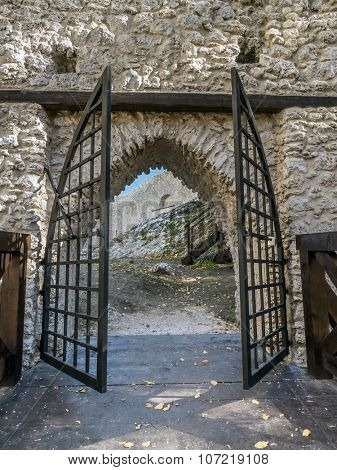 Entry gate of medieval castle Smolen, located on the Trail of the Eagles' Nest within the Krakow-Czestochowa Upland, Poland