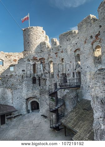 Ruins of medieval castle Ogrodzieniec, located on the Trail of the Eagles' Nest within the Krakow-Czestochowa Upland, Poland