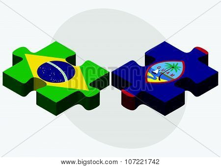 Brazil And Guam Flags