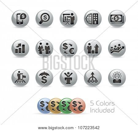 Financial Strategies Icons // Metal Round Series -- The vector file includes 5 color versions for each icon in different layers.