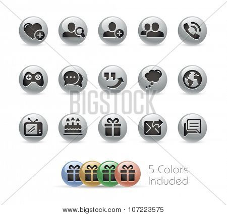 Social Communications Icons // Metal Round Series -- The vector file includes 5 color versions for each icon in different layers.