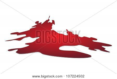 Blood Puddle, Red Drop, Blots, Stain, Plash Od Blood. Vector Illustration Isolated On White Backgrou