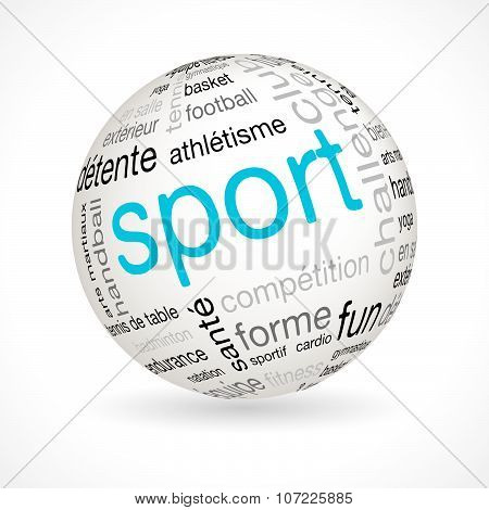 French sport theme sphere with keywords full vector poster
