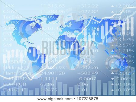 Stock Market Graphic, Stock Chart And World Map