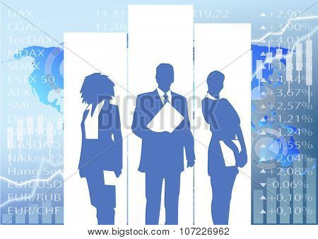 Business People Silhouette - Stock Market Illustration Background
