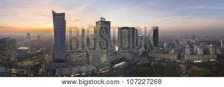Panorama Of Warsaw City During Sundown
