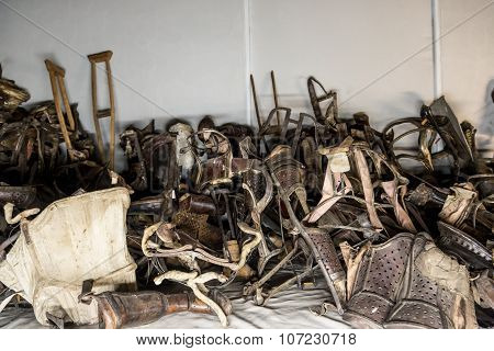 Exhibition In Concentration Camp In Auschwitz.