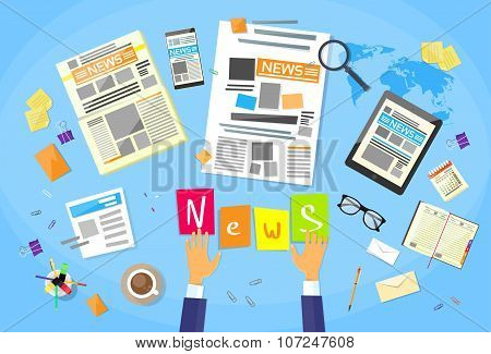 News Editor Desk Workspace, Concept Making Newspaper Creating Article Writing Journalists