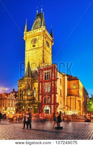Prague,czech Republic- September 12, 2015:astronomical Clock(staromestske Namesti)on Historic Square