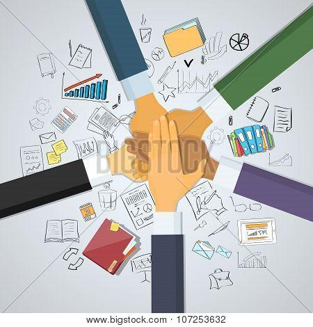 Hands Desk Team Leader Business People Pile Hand Stack On Each