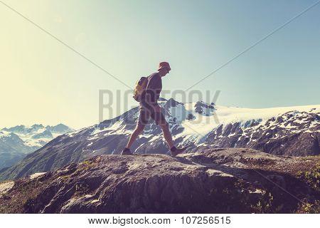 Hiker in Exit Glacier, Kenai Fjords National Park, Seward, Alaska