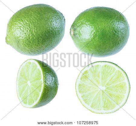 Lime, Tropical Fruit, Isolate On A White Background, Whole Fruit, Cut Fruit In A Variety Of Ways.