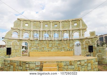 Perm, Russia - June 18, 2014: Improvised Colosseum For Performing At Open Air Festival White Nights