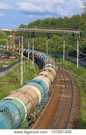 Perm, Russia - Jun 25, 2014: Freight Train On Railroad. Russian Railways Is One Of Three Major Railw