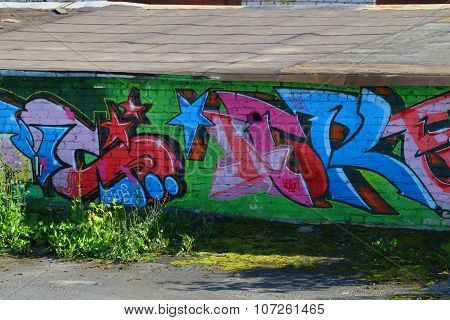 Graffiti on street wall