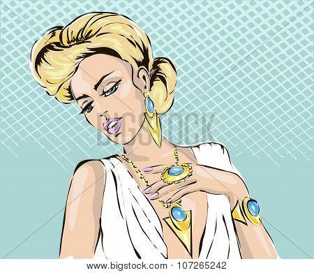 Beautiful Blonde Woman With Luxury Gold Jewerly