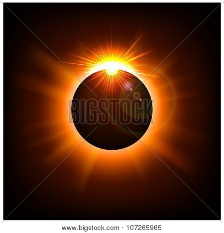 Space background with gold sun light