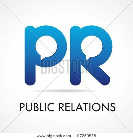 Public Relations PR company logotype. Initials pr blue colored volume branding icon with speaking or talking template elements. Advertising or promotional agency brand emblem. poster