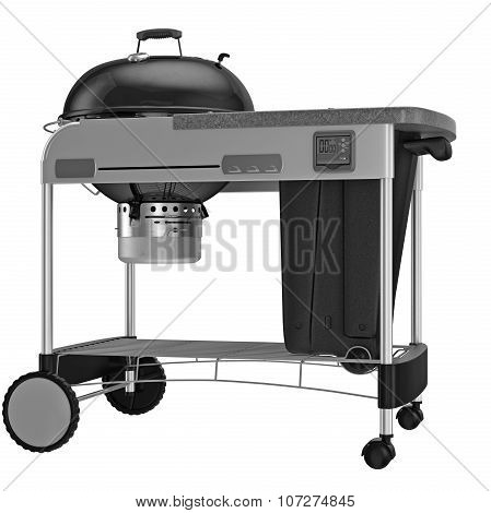 Grill with automatic timer and control system. 3D graphic object on white background isolated poster