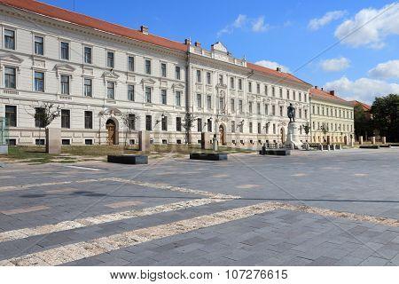 Pecs Hungary. City in Baranya county. Pecs municipal building on Kossuth Square. poster
