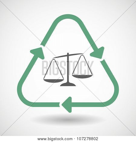 Line Art Recycle Sign Vector Icon With  An Unbalanced Weight Scale