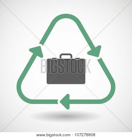 Line Art Recycle Sign Vector Icon With  A Breiefcase