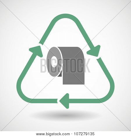Line Art Recycle Sign Vector Icon With A Toilet Paper Roll