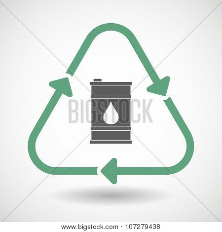 Line Art Recycle Sign Vector Icon With A Barrel Of Oil