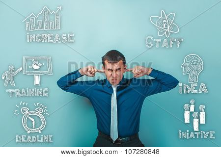Male businessman hands tucked Usha dissatisfied thumbnail icons