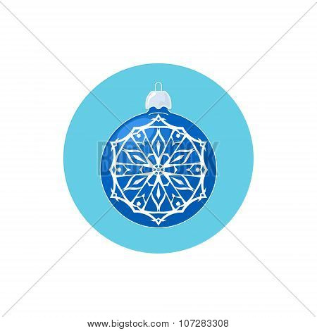 Colorful Icon Blue Ball With Snowflake