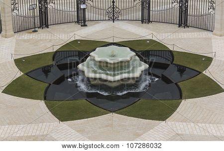 fountain in the Bahai Temple Haifa Israel